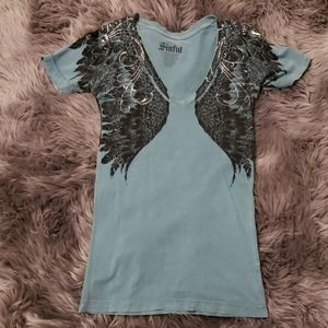 Sinful Distressed Embellished T-shirt